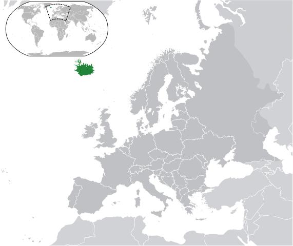 Исландия на карте