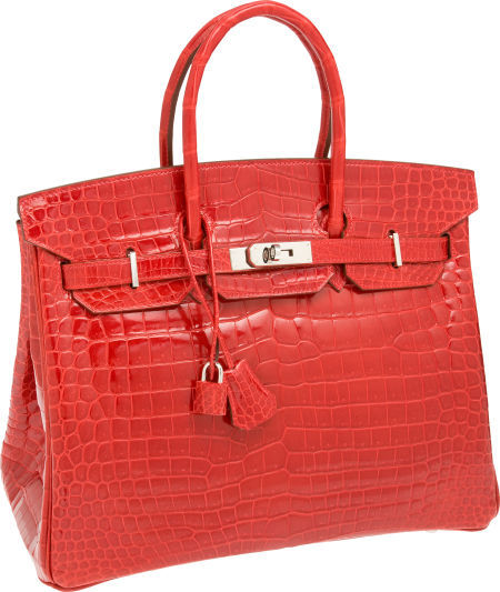 Shiny Braise Red Porosus Crocodile Birkin Bag от Hermès