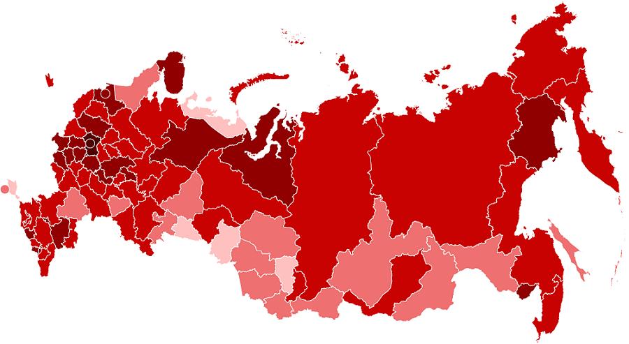 Карта коронавируса в регионах России на душу населения